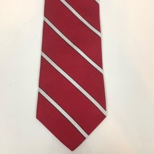 Tommy Hilfiger Red w White Stripe 100% Silk Tie